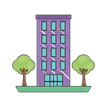 building architecture facade exterior trees vector illustration