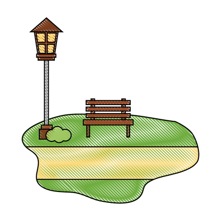 wooden bench lamppost street outdoors scene vector illustration
