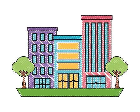 buildings city facade trees town scene vector illustration Illustration