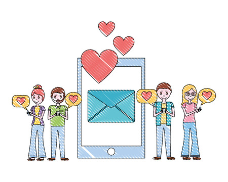 smartphone two couples message email love hearts vector illustration Çizim