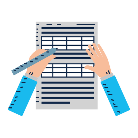 hands writing with pen in document vector illustration design Illustration