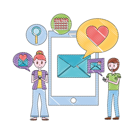couple with smartphone mobile love chat message romantic vector illustration