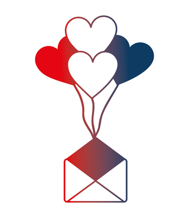 envelope mail with balloons air in heart shape vector illustration design Illustration