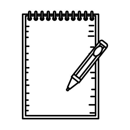 notebook school with pen education vector illustration design