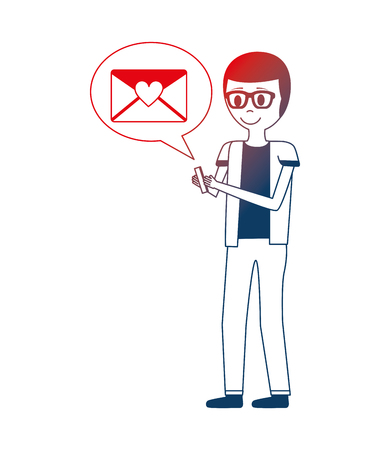young man with smartphone and speech bubble vector illustration design Stock Illustratie