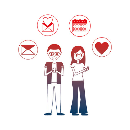 young couple with set icons avatar character vector illustration design
