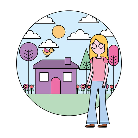 woman standing near house garden landscape vector illustration