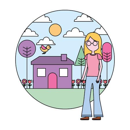 woman standing near house garden landscape vector illustration Stock Vector - 109990618