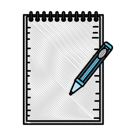 notebook school with pen education vector illustration design Ilustracja