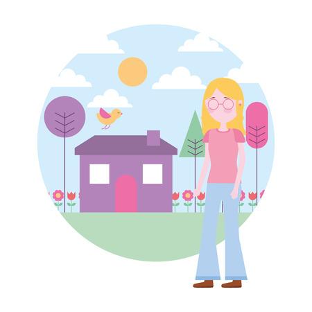 woman standing near house garden landscape vector illustration Stock Vector - 109990630