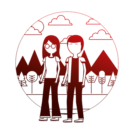couple standing together in the outdoors vector illustration neon