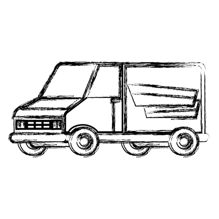 delivery service van vehicle vector illustration design