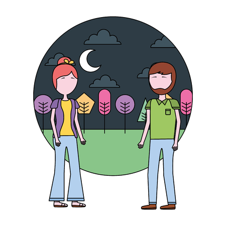 couple standing together in the outdoors vector illustration Stock Vector - 108244037