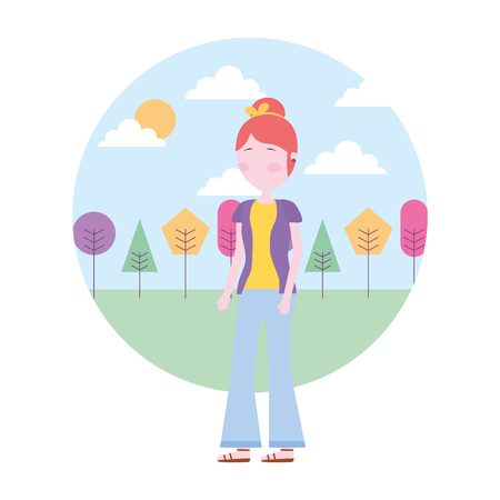 woman in casual clothes trees sunny day vector illustration
