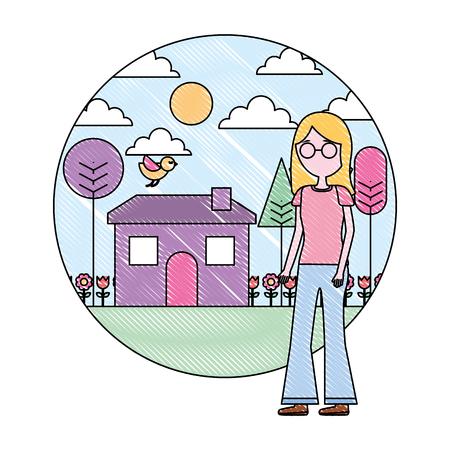 woman standing near house garden landscape vector illustration Stock Vector - 109990650