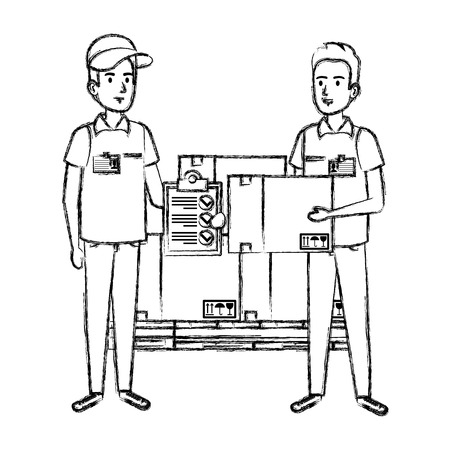 delivery workers with pile boxes and checklist vector illustration design Illustration