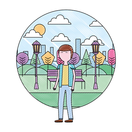 man with glasses standing in the park city vector illustration