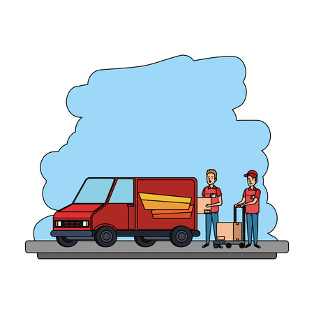 delivery workers with cart and van vector illustration design