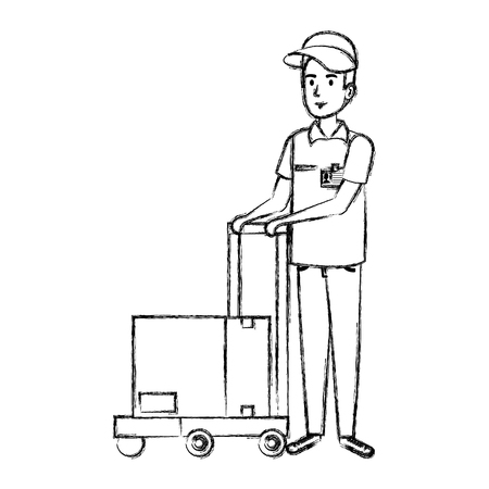 delivery worker with cart and box vector illustration design