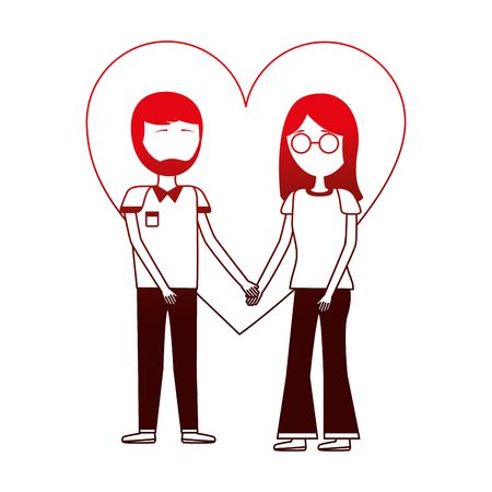 young couple holding hands in the love heart vector illustration neon