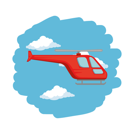 helicopter flying on the sky vector illustration design Çizim