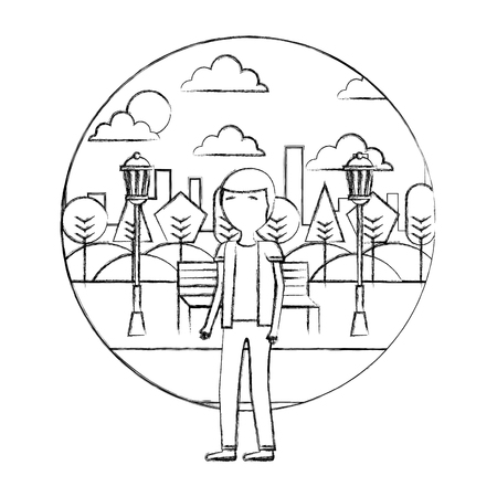 man with glasses standing in the park city vector illustration hand drawing