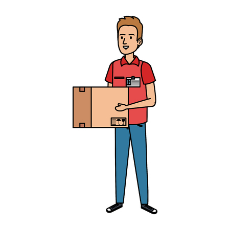 delivery worker lifting box character vector illustration design 向量圖像
