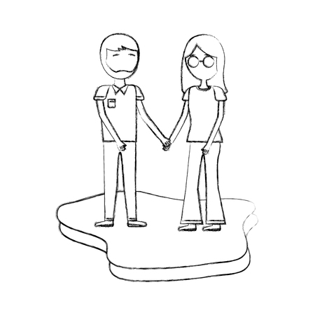 romantic couple holding hands together vector illustration hand drawing Illustration
