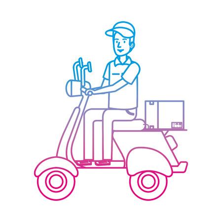 Trabajador de entrega en motocicleta y caja, diseño de ilustraciones vectoriales