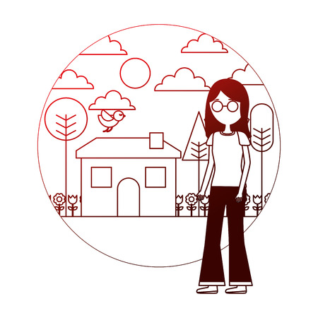 woman standing near house garden landscape vector illustration neon