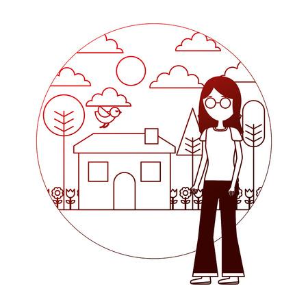 woman standing near house garden landscape vector illustration neon Stock Vector - 109990743
