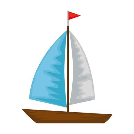 Barca a vela icona isolato illustrazione vettoriale design Vettoriali