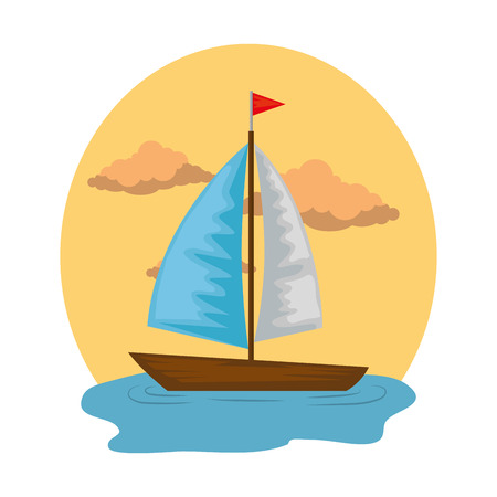 sail boat on the sea vector illustration design Standard-Bild - 109990751