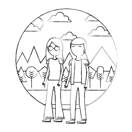 couple standing together in the outdoors vector illustration hand drawing