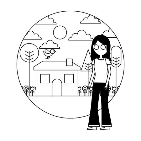 woman standing near house garden landscape vector illustration Stock Vector - 109990758