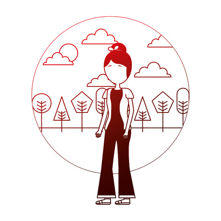 woman in casual clothes trees sunny day vector illustration neon