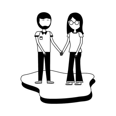 romantic couple holding hands together vector illustration Illustration