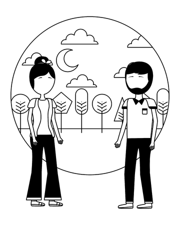 couple standing together in the outdoors vector illustration Stock Vector - 109990768
