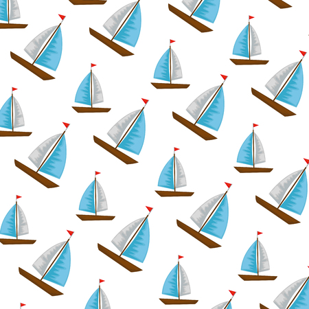 sail boats pattern background vector illustration design Archivio Fotografico - 109990776