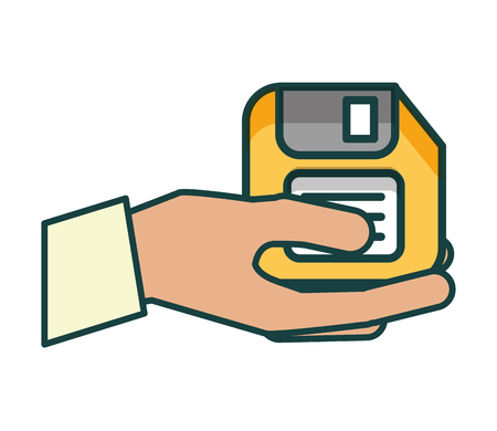 hand with floppy disk vector illustration design Imagens - 109990779