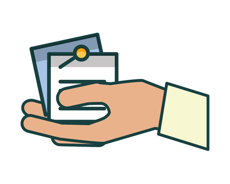 hand with paper documents vector illustration design