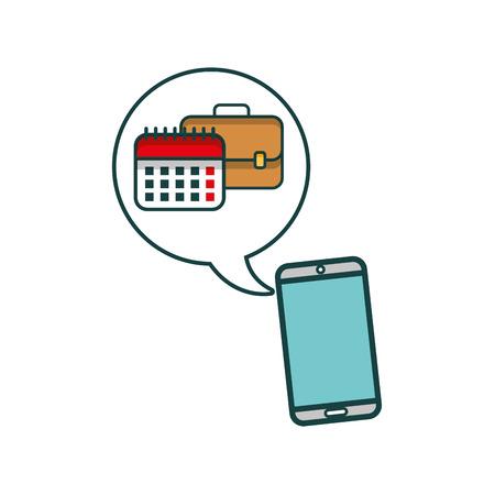smartphone with folder and calendar vector illustration design
