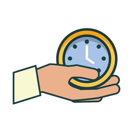 main avec la conception d & # 39; illustration vectorielle horloge temps