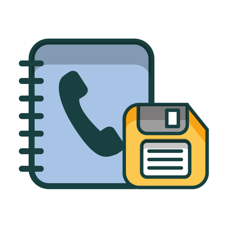 phonebook and floppy isolated icon vector illustration design