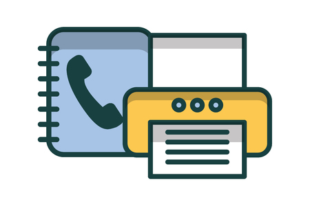phonebook with printer isolated icon vector illustration design