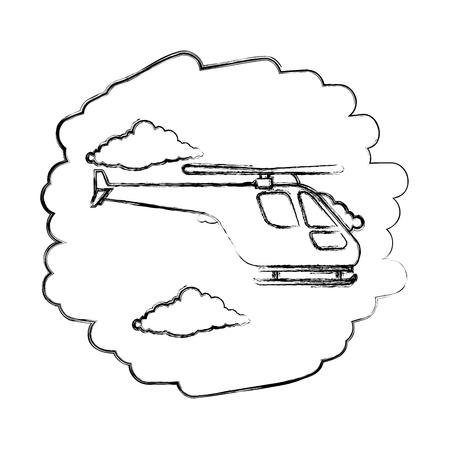 helicopter flying on the sky vector illustration design Illustration