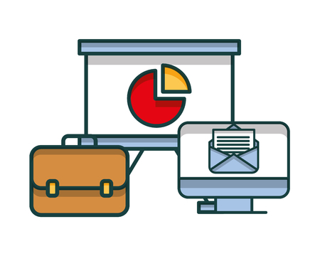portfolio briefcase with paperboard and computer vector illustration design