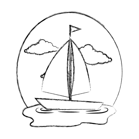sail boat on the sea vector illustration design Фото со стока - 109990807