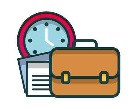 portfolio briefcase with watch and document vector illustration design Vetores