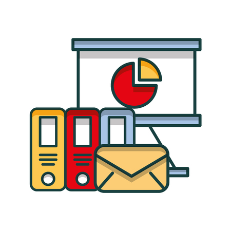 envelope mail with paperboard and books vector illustration design